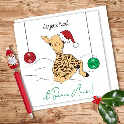 Carte de souhait Girafe de noël
