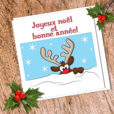 Carte de souhait Rennes de noël