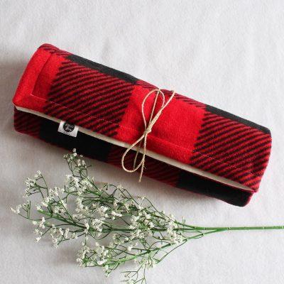 Couverture pour bébé à motifs Buffalo carreauté rouge et noir (tissu polaire et flanelle)1